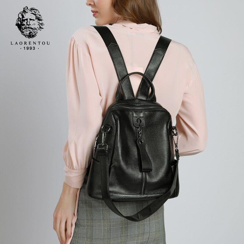 Bagaj ve Çantalar'ten Sırt Çantaları'de LAORENTOU Marka Hakiki Deri Kadın Orijinal Seyahat okul çantası Kadın Yumuşak Moda Mochilas kız yüksek kaliteli sırt çantası'da  Grup 1