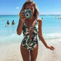 One Piece Swimsuit 2017 Sexy Trikini Swimwear Women Backless Floral Print Bandage Monokini Thong Triquini Bathing