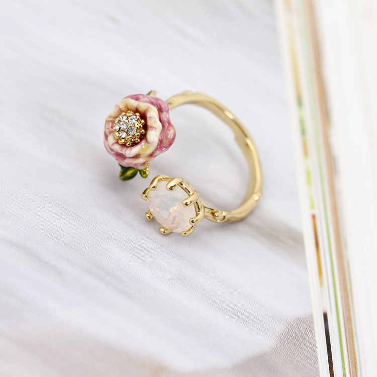 Monet Garden Series Cristal Colorful Luxury Enamel Ring 2018 Women Fashion Charm Jewellery Anelli Donna Bague Femme Anel