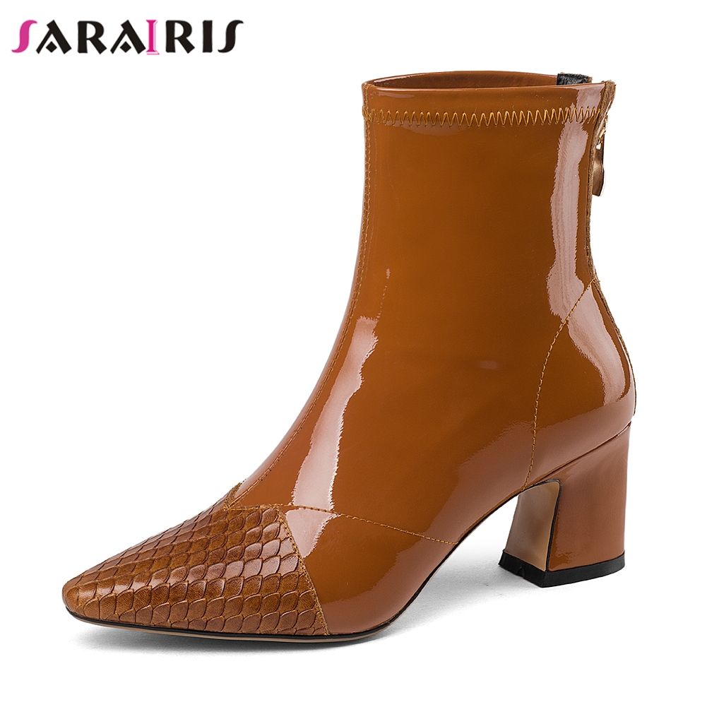 SARAIRIS Brand High Quality Ankle Boots Women Genuine Leather Autumn Winter Patent High Heels Shoes Woman Large Size 33-43 цена
