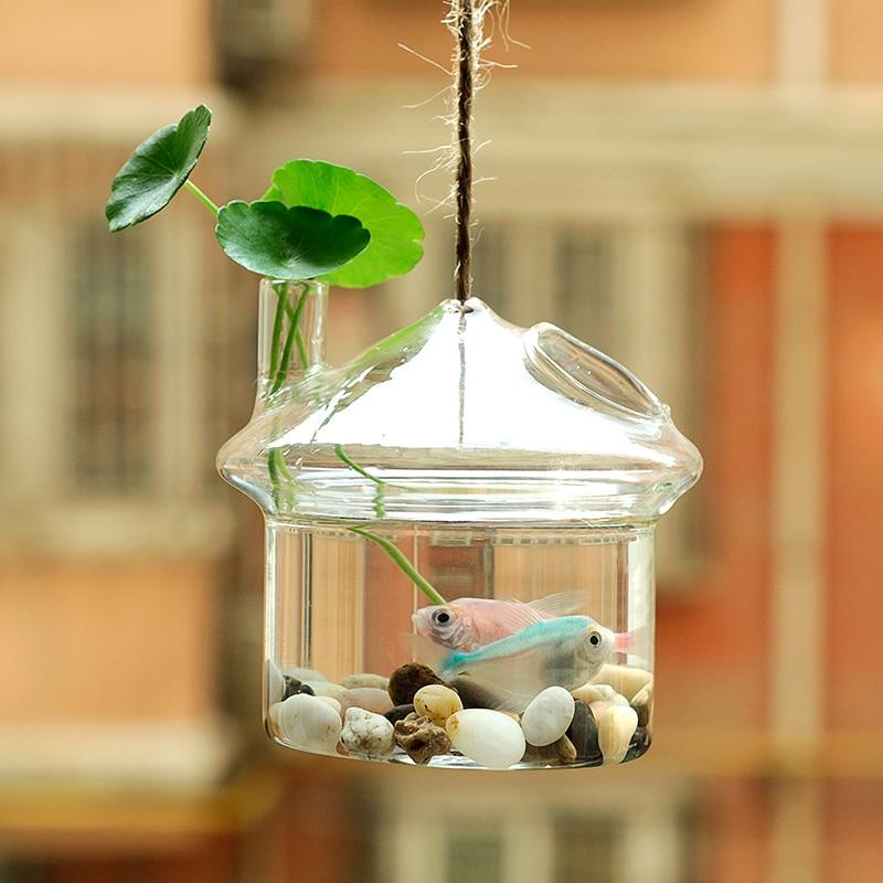 Oselif Hanging Mushroom House Fish Tank Hanging Vases