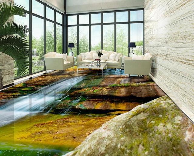 Custom 3d Floor Waterproof Self Adhesive Flooring Stone Waterfall Bedroom Wallpaper Tiles Modern