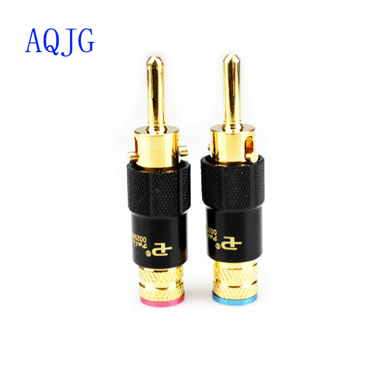 Free Shipping Pailiccs 4pcs PS-109 Self locking type Copper 24K Gold Plated Pailiccs banana plug Audio Connector male adapte wholesale and retail 20pc 9pin gold plated ceramic tube socket audio accessories rs1003 f3a amplifier free shipping