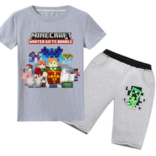 Summer cartoon Minecraft 3D printing T-shirt boys and girls cotton short-sleeved T-shirt + pants children suit clothing 6-14Y 2018 minecraft pants long sleeve suit boy clothing jacket spring and autumn hooded sweater suit children s t shirt 6 14y