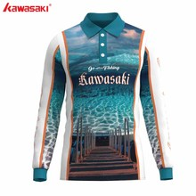 Kawasaki Outdoor Men 3D Printed Custom Fishing T-shirt Quick Dry Long Sleeves Sport Shirt For Clothing