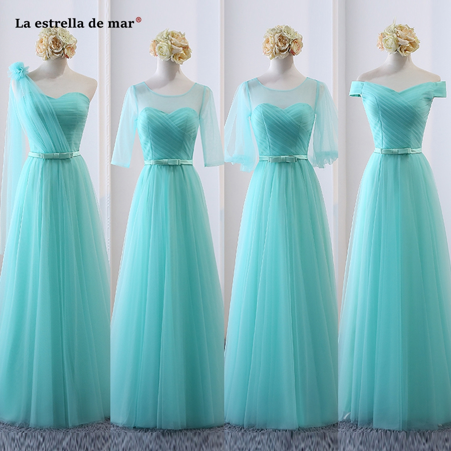 La estrella de mar robe demoiselle d'honneur 2019 new tulle half sleeve A Line 6 style turquoise light purple   bridesmaid     dresses