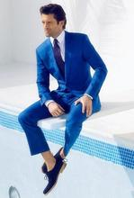 2016 Custom Made High Quality Royal Blue Tuxedos Men Beach Wedding Suits Groomsman Suit 2 Pieces Grooms Wear Jacket+Pants