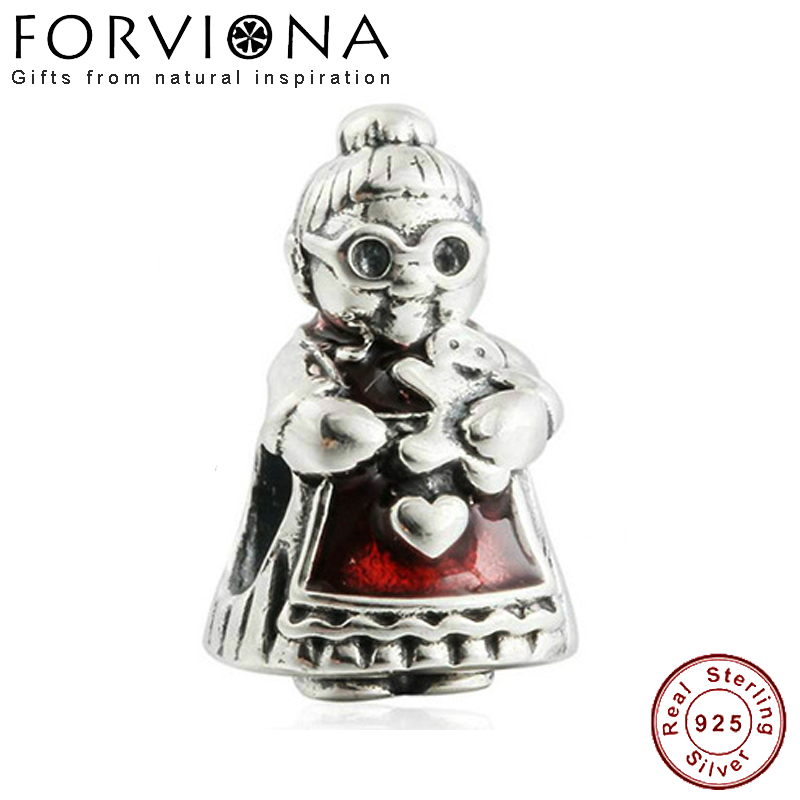 Authentic 925 Sterling Silver Christmas Mrs Claus Charm Beads Fit European Pandora Bracelets Fashion DIY Silver Jewelry