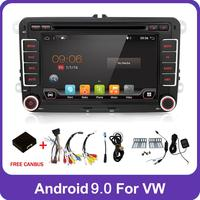 2 Din Quad Core android 9.0 car dvd player Aux gps Stereo For Volkswagen Skoda POLO GOLF 5 6 PASSAT CC TIGUAN TOURAN Fabia Caddy