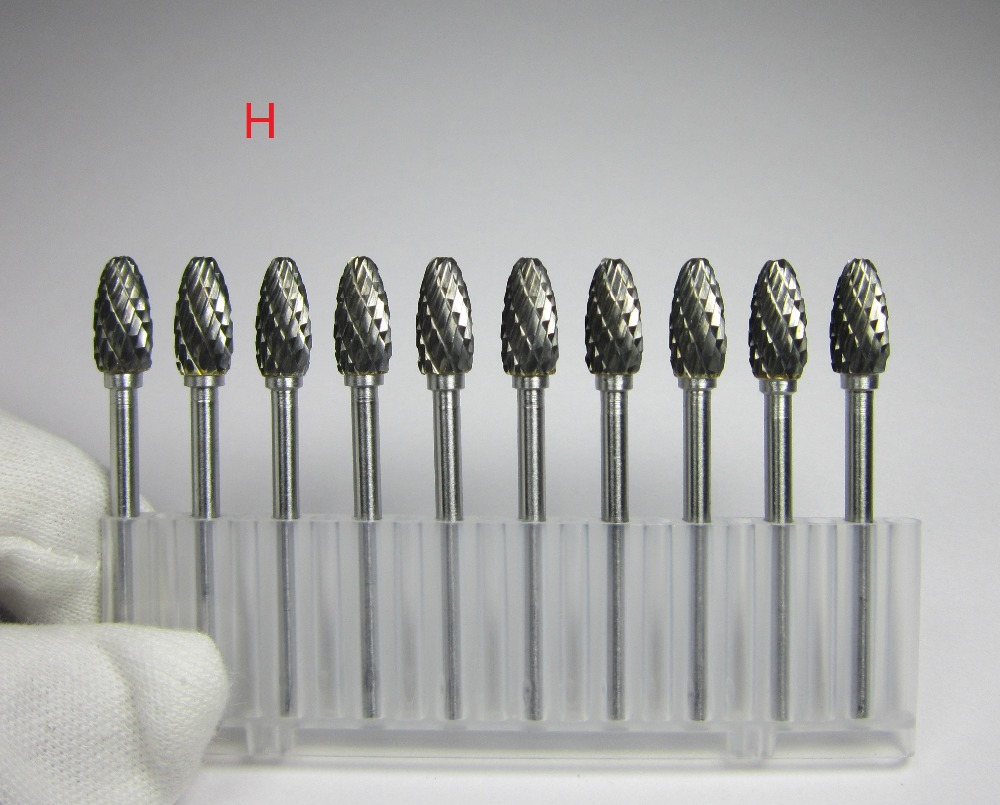 10PCS Shank 3mm Head 6mm 5mm 4mm 3*6 3*5 3*4 H Tpye Torch-shaped Carbide Rotary Burrs File Grinder Polishing CNC Molds Finishing