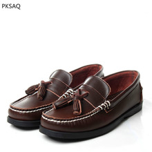 Spring New Men Boat Shoes Fashion Driving Soft Casual Leather Shoes Flat Lace Up Make In Hand Round Toe Couple Shoes Plus Size цены онлайн