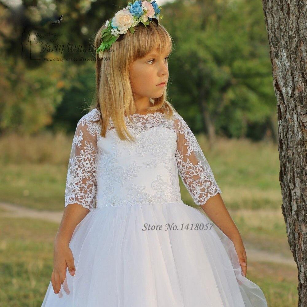 Weiß Mutter Tochter Kleider Spitze Heilige Kommunion Kleid ...
