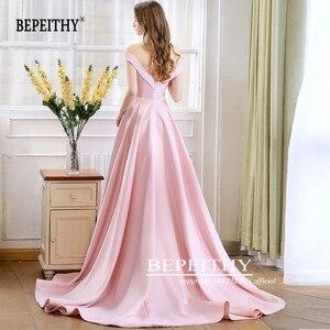 Image 2 - 2020 bepeithy primavera robe de soiree rosa fora do ombro vestidos de noite com alta fenda sexy longo baile de formatura vestido de festa abendkleider