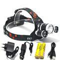 Promotion RJ3000 8000LM CREE XML T6 +2R5 3LED Headlight,Headlamp,Fishing,Head Lamp Light +2*18650 battery+AC Charger+Car Charger