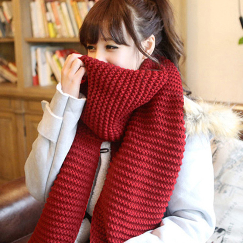 Image 2017 Warm Handmade Knitted Winter Women Scarves And Wraps Red Cashmere Knitted Scarf For Women Italian Large Big Scarf