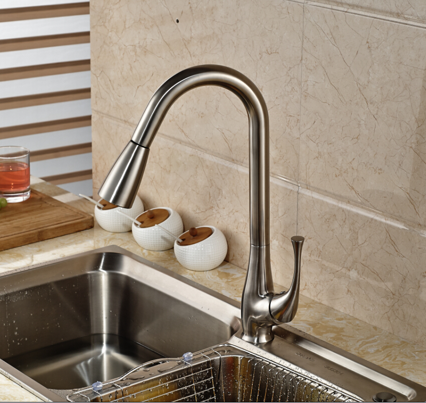 ФОТО Elegant Brushed Nickel Pull Out Kitchen Faucet Single Handle Hole Vanity Sink Mixer Tap Deck Mounted