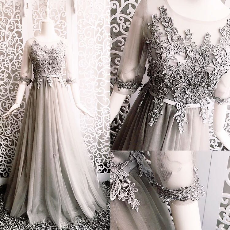 2017 new   Bridesmaid     Dresses   plus size stock cheap sexy romantic sister simple elegant fashion sweetheart grey silver long