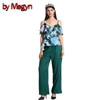 От Megyn Женский комплект костюмы летние сексуальные camis оборки зеленый цветочный принт Топ и эластичная талия широкие брюки женский комплект