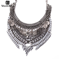 VALEN BELA Fashion Women Collier Silver Coin Tassel Pendants Maxi Necklace Collares Bib Crystal Statement Choker Necklace XL1533
