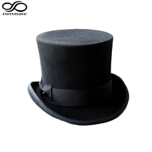 LUCKYLIANJI 13.5cm 4 Sizes Steampunk Victorian Formal Top Hat Wool Felt Vintage Magician Fedoras Mad Hatter President Bowler Hat