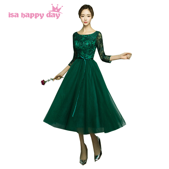 2019 New Arrival Deep Green Pageant Gown Sexy Women Sleeved Tea Length Party Tulle Prom Dress Puffy Dresses Under $100 H4110