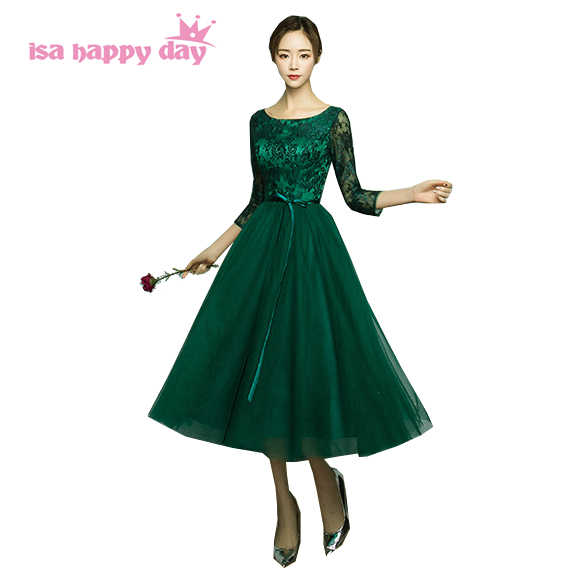 2019 new arrival deep green pageant gown sexy women sleeved tea length party  tulle prom dress c6816d4fc87c