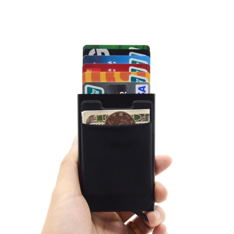 Credit Card Holder Case Aluminum Wallet With Elasticity Back Pocket RFID Thin Metal Wallet Business ID Card Holder 9