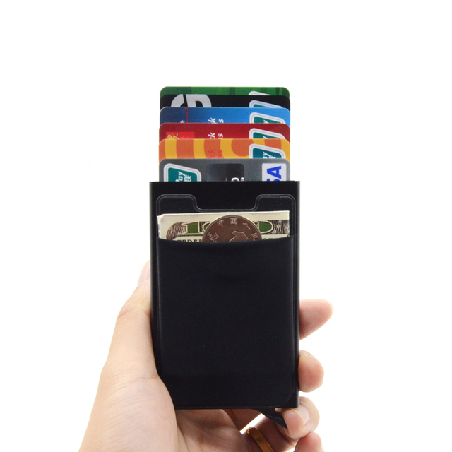 Credit Card Holder Case Aluminum Wallet With Elasticity Back Pocket RFID Thin Metal Wallet Business ID Card Holder 2