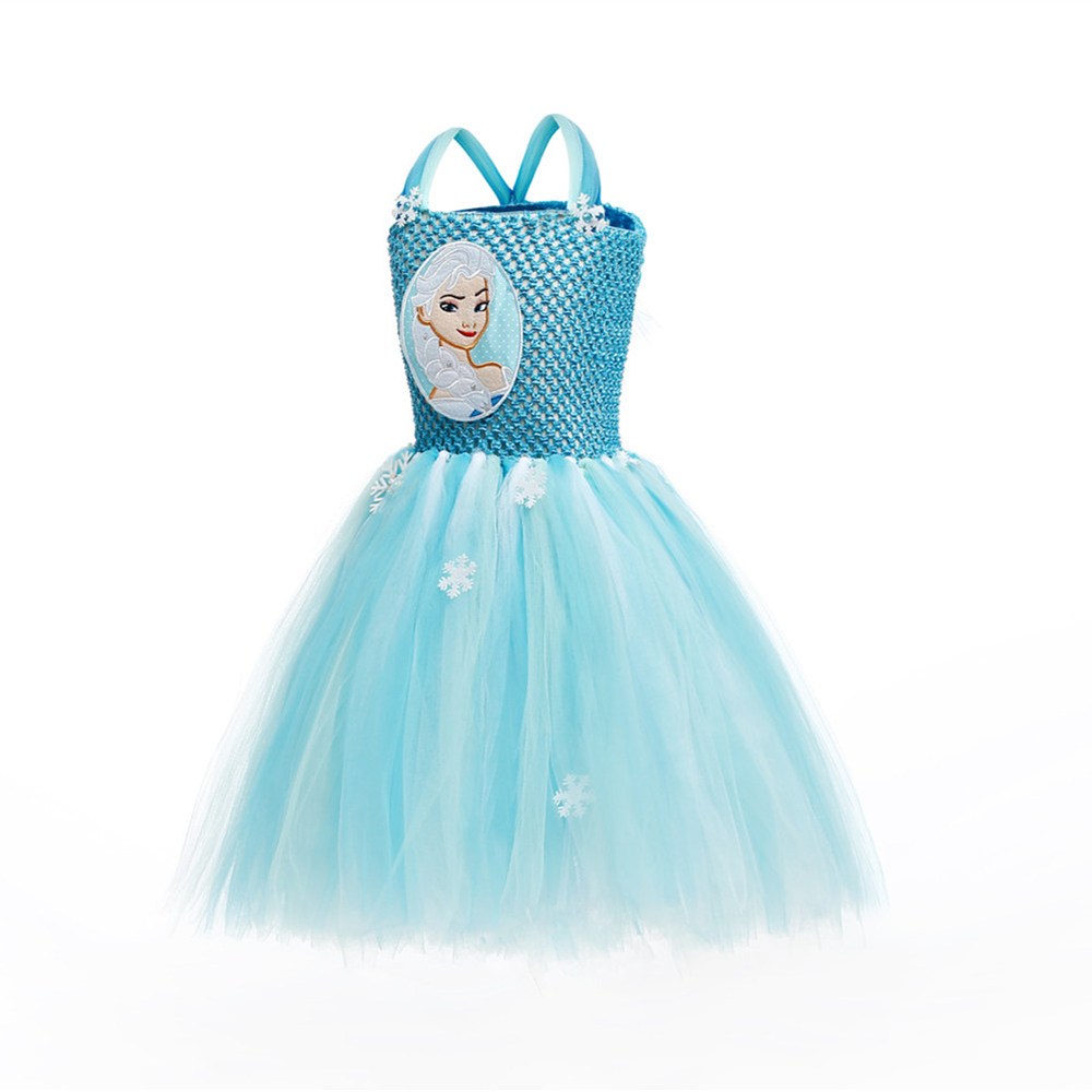 Princess Girls Elsa Tutu Dress Blue Snow Flake Tulle Girl Birthday ...