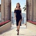 2016 mujeres de la moda de primavera rojo fuera del hombro hendidura sexy longitud de la rodilla del vendaje dress al por mayor