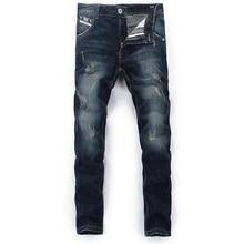 купить Fashion Classical Mens Jeans Dark Color Retro Vintage Straight Fit Simple Jeans For Men Wild Denim Pants Brand Ripped Jeans по цене 1499.97 рублей