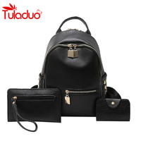 Rivet Women Backpack Female Leather Black School Bags For Teenagers Girls Famous Brand Preppy Style 3Pcs