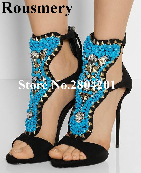Rousmery Luxury Summer Women Shoes Sexy Peep Toe High Heel Navy Blue Stone Metal Rivet Crystal Studded Party Dress Sandals Women sexy women s peep toe shoes with multi layer fringe and rivet design
