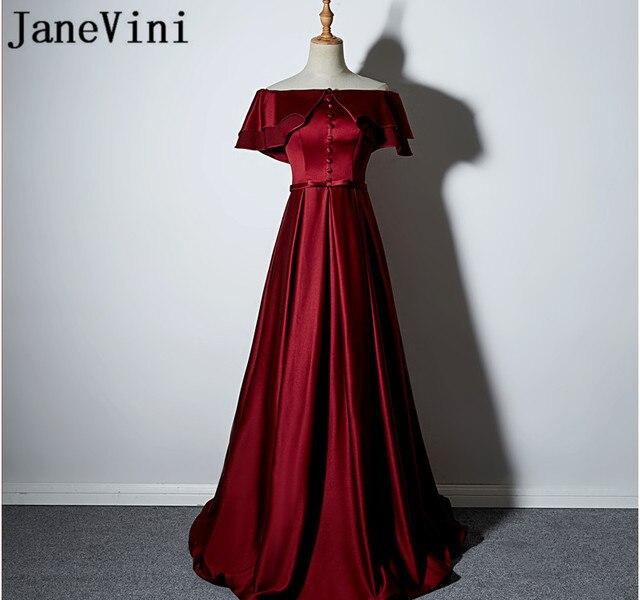 JaneVini Burgundy Godmother Formal Evening Gowns Off Shoulder Short Sleeve Long Mother of The Bride Dresses Bruid Jurk 2018
