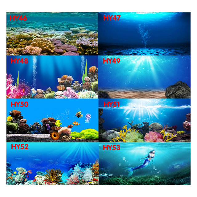 Free Shipping Personal Tailor Waterproof Submarine World Aquarium Background Poster HD Fish Tank Decorations Landscape