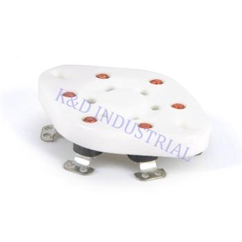 10pcs Sliver 6Pin Ceramic Vacuum Tube Socket U6A Base 41 42 2A5 6C6 1265 RK43 VT57 Audio Amplifier