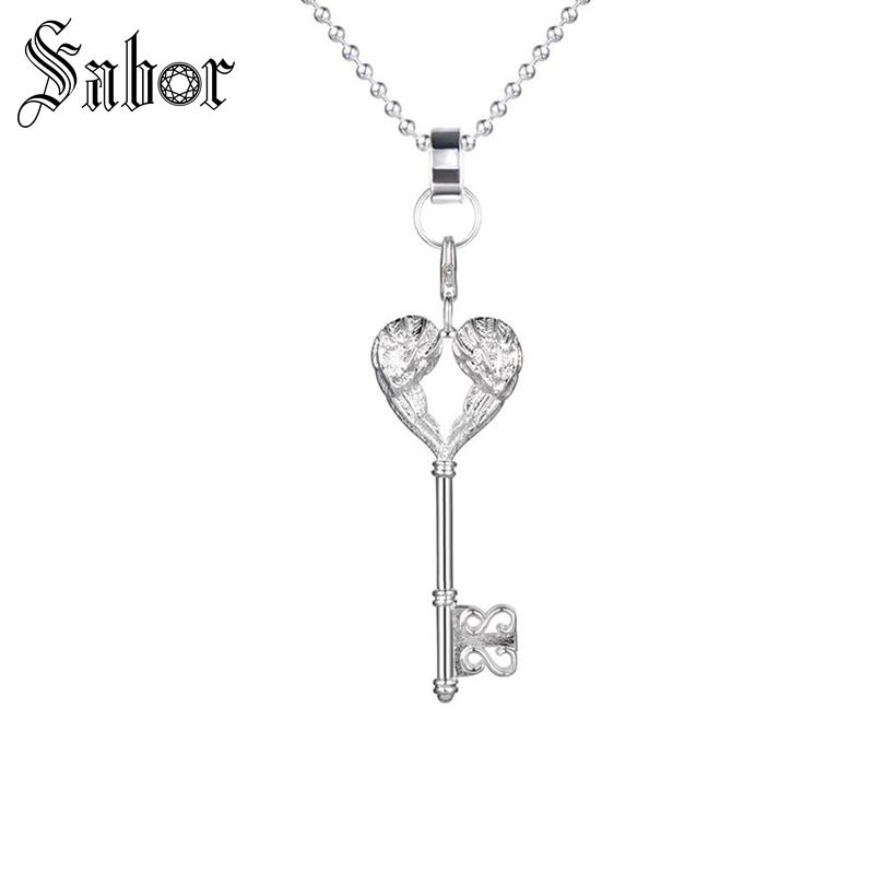 Fashion Chokers Charm Pendants Necklaces For Women Silver Color Feather Heart Key Pendants Necklaces Jewelry 925 Sterling Silver