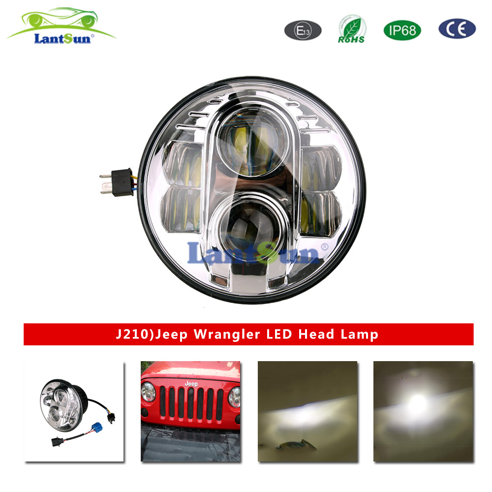J210 Pair 7inch 80w led projector headlight hi lo beam for replacement fits jeep wrangler TJ CJ LJ JK Harley Hummer pair 75w 7inch 5d headlight led h4 plug h13 drl hi lo beam for jeep jk tj cj hummer