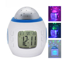 Sky Star Night LED colorful music Light Projector Lamp Bedroom luminous mute Alarm Clock Color Change Multi-function Glowing(China)