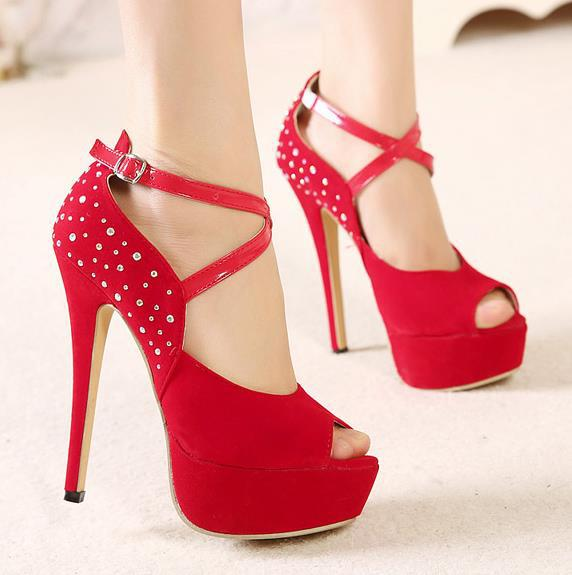 Stylish rhinestones peep toe thin heel women high heel sandals ...