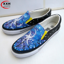 JUP Women Increase Luminous Platform Galaxy Star Sky Pattern Colorful Low Nei Hand Painted Canvas Flat Shoes for Woman Girls Boy
