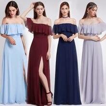 864a57ae2 2018 nuevo azul elegante vestidos de dama de largo siempre Pretty A-line  alta dividir una línea gasa vestidos de baile para el b.