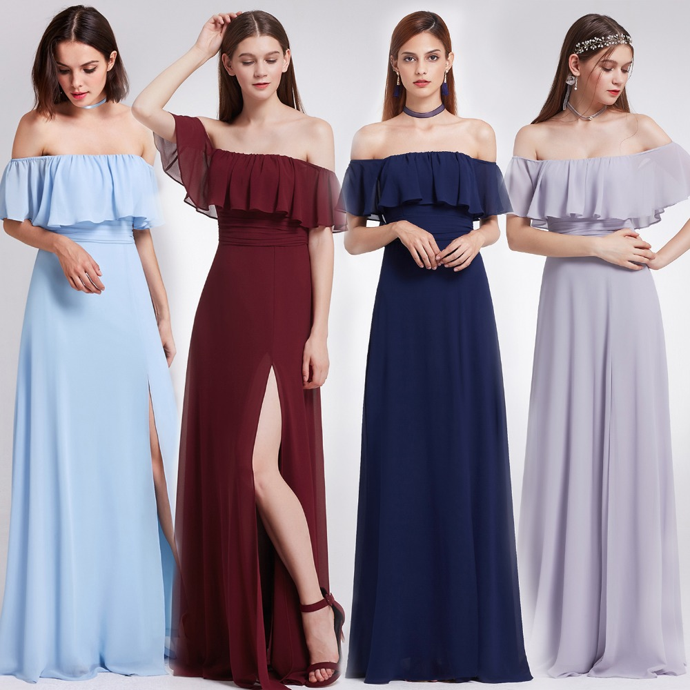 2018 New Blue Elegant   Bridesmaid     Dresses   Long Ever Pretty A-line High Split A-line Chiffon Prom Party   Dresses   for Wedding Party