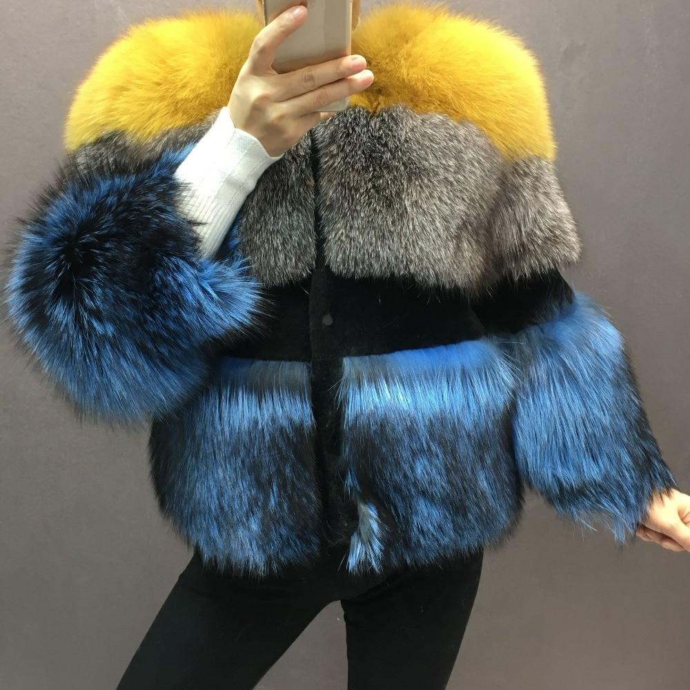 2 Réel Manteau Moutons 3 Pour De D'hiver Femmes Les 1 Naturel Argent Fox color Chaud Renard Fourrure Color Tonte Peau Silver Pleine Des Veste color Luxe Nouveau Épais tdnOx4wqt