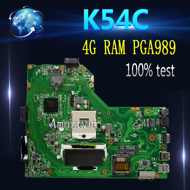 For ASUS K54C X54C Laptop motherboard REV.2.1 HM65 4GB RAM INTEL Mainboard