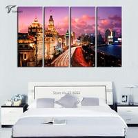 4 Panel Canvas Decor Shanghai Cityscape Print Pictures Multi Panel Bund Night Scenes For Home Decoration