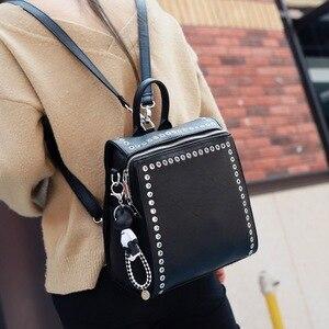Image 4 - SUDS Brand Women PU Leather Backpack New Fashion Student Rivet School Bags Shoulder Bag Female Traveling Backpack Mochilas Mujer