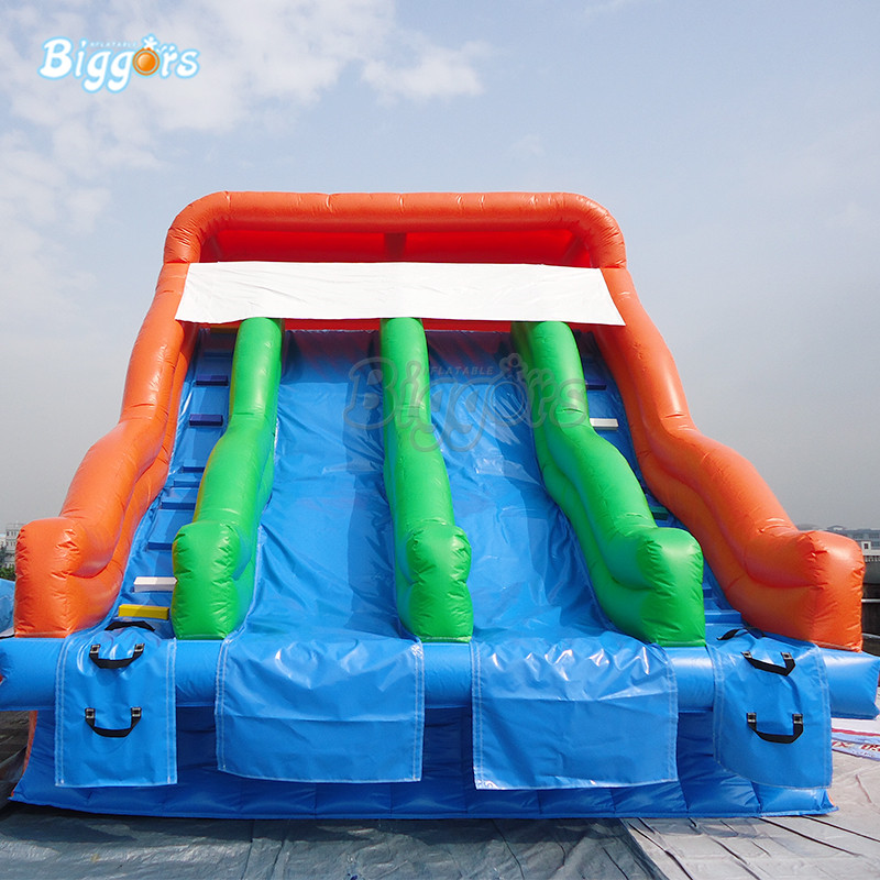 Inflatable double lane water slide pool inflatable outdoor amusement park with blowers inflatable biggors amusement park inflatable slide with pool for water games