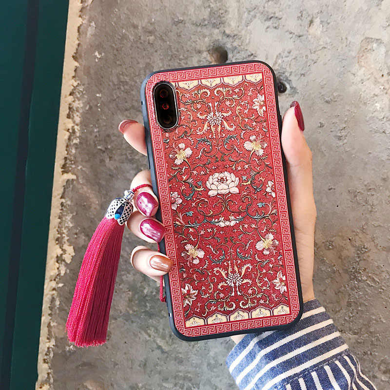Étui Floral Vintage traditionnel chinois en Relief 3D avec sangle à franges pour iPhone 11 pro max 7 8 7 plus 6 6s X XS XR XS MAX Funda