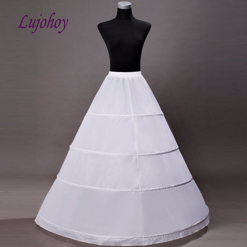 White Ball Gown Petticoat Long for Wedding Dress 4 Hoops Bridal Underskirt Girls Woman Jupon Crinoline Pettycoat